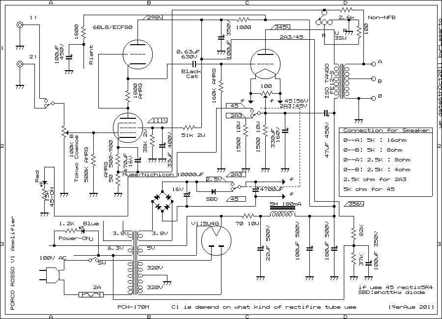 schematic of 2A3/45 single ended amplifier