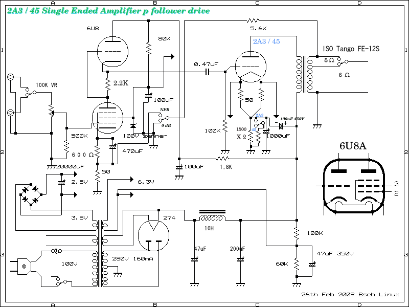 first circuit of 2A3 single ended amplifier